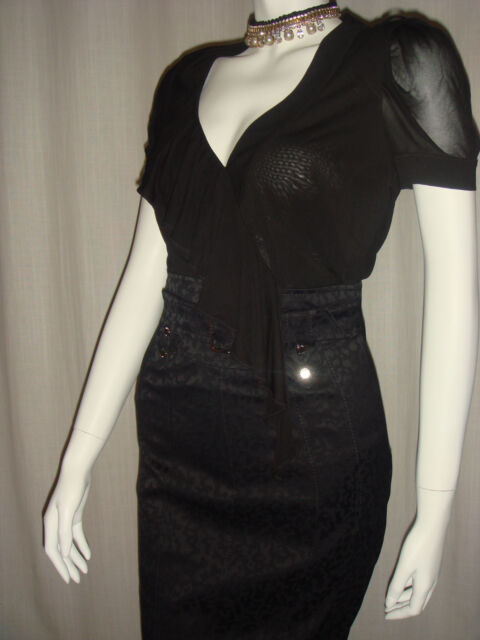 Karen Millen Black Sheer Top Grey Leopard Work Dress Uk 8 Ebay