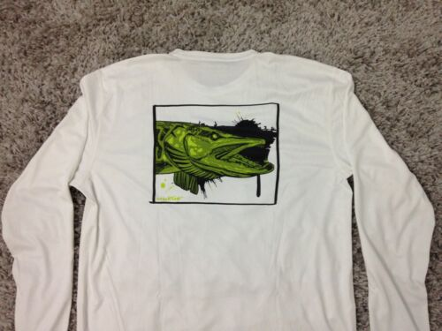 UPF 30 Simms Solar Tech T-Shirt Long Sleeve Muskie Face White LARGE