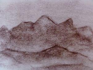 ALBERT-WALLAT-1917-1997-Kohlezeichnung-Berge-Landschaft-Gebirge