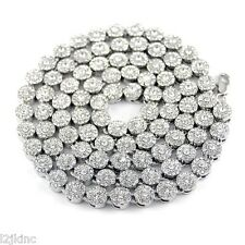 Mens Flower Cluster Silver Iced Out Chain Necklace Simulated Cz 36 Inch