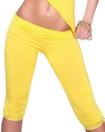 Capri Leggings Leggins Leggin Hose schwarz weiss gelb pink türkis 34 36 38 S M