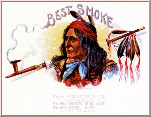 Best Smoke Indian Peace Pipe Vintage Smoke Cigar Box Crate Inner Label Print