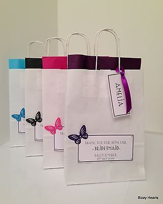 PERSONALISED PAPER WEDDING GIFT BAG FAVOUR PARTY- BUTTERFLY