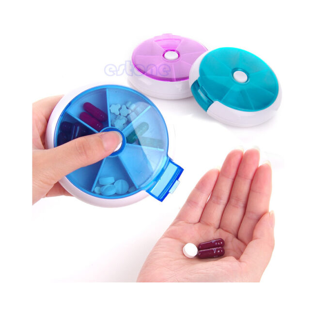 7-Day Round Medicine Pill Vitamin Box Case Storage Dispenser Organizer Holder