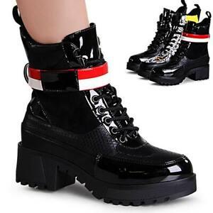 Details zu Damenschuhe Plateau Stiefeletten Derbe Block Worker Boots Booties Stiefel