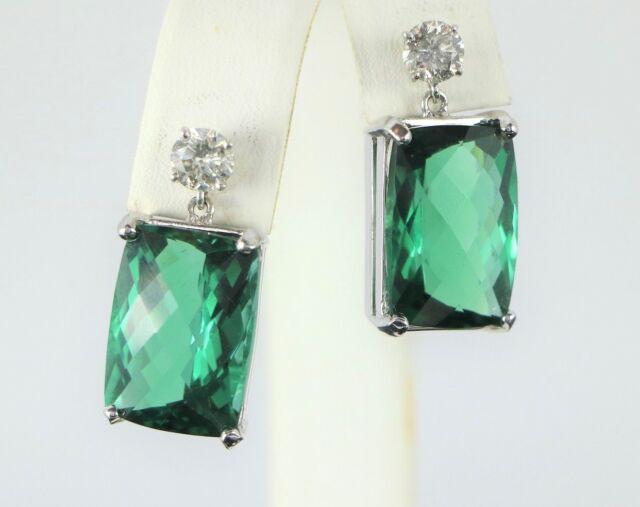 14K White Gold 21.50ct Rainforest Topaz Round Diamond Screw Back Earrings