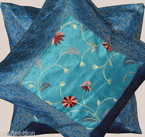 Set-of-two-turquoise-silk-flower-embroidered-hand-made-brocade-pillow-cover