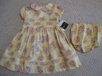 Laura Ashley Yellow & Pink Floral 2 Pc Dress Set Size 24 Months Girls