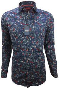 Herren-Hemd-mit-Muster-Blumen-Freizeithemd-Slim-Langarm-97-Baumwolle-M-3XL