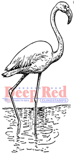 Deep Red Rubber Cling Stamp Flamingo Water Bird