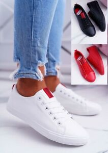 WOMENS  SNEAKERS LOW BIG STAR FASHION WHITE RED BLACK SHOES TRAINERS SIZE 3-8 UK