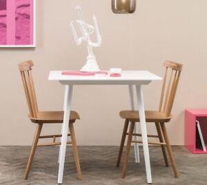 Tisch 80x80 Cm Weiß Gestell Mass Buchenholz Platte Buchenfurnier
