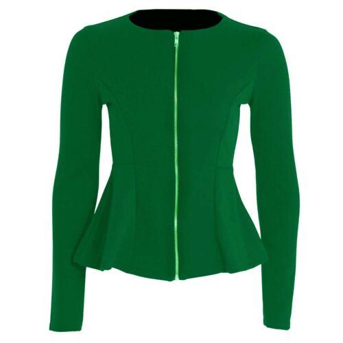 Womens Ladies Plus Size Plain Zip Peplum Frill Tailored Blazer Jacket 8 to 24
