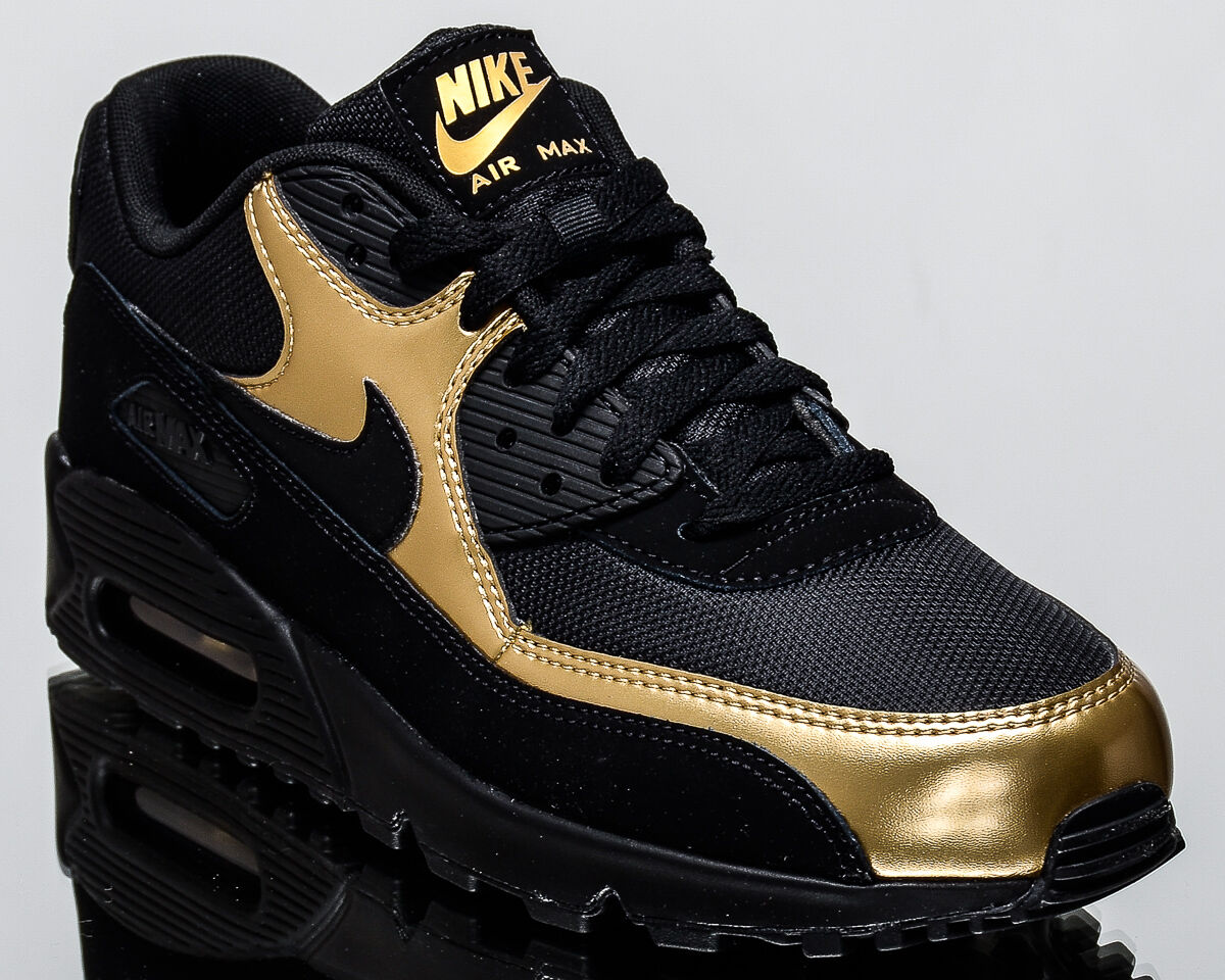 finest selection 4091d ec851 Nike Air Max 90 Essential men lifestyle sneakers NEW black gold 537384-058  new