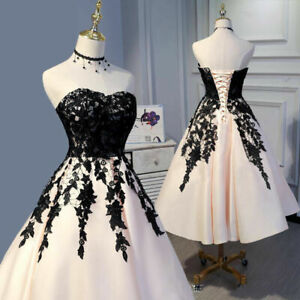 Sweetheart Tea Length Satin Prom Dresses Applique Evening Party Ball Gown Custom