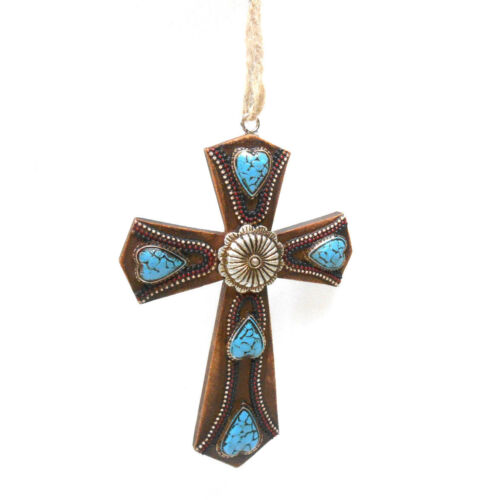 Midwest-CBK Brown Turquoise Heart Stone Decorated Cross Ornament