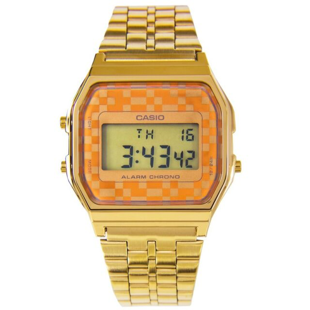Casio A159WGEA-9A Retro Vintage Gold Digital Watch Casual Wear with Sneakers