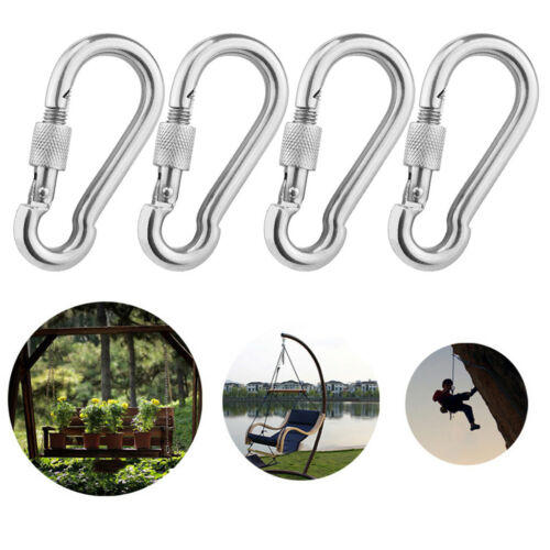 4x Carabiner Screw Lock Hammock Hanging Buckle Keychain Camping Hiking Swing