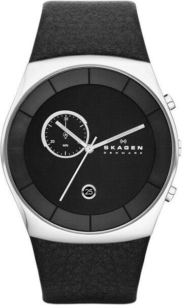 New Skagen Mens Watch Havene Silver Tone Black Leather Strap & Dial SKW6070