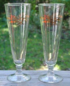 2-Vintage-Pilsner-8-oz-Gold-Wheat-Design-Footed-Bar-Brew-Beer-Glasses