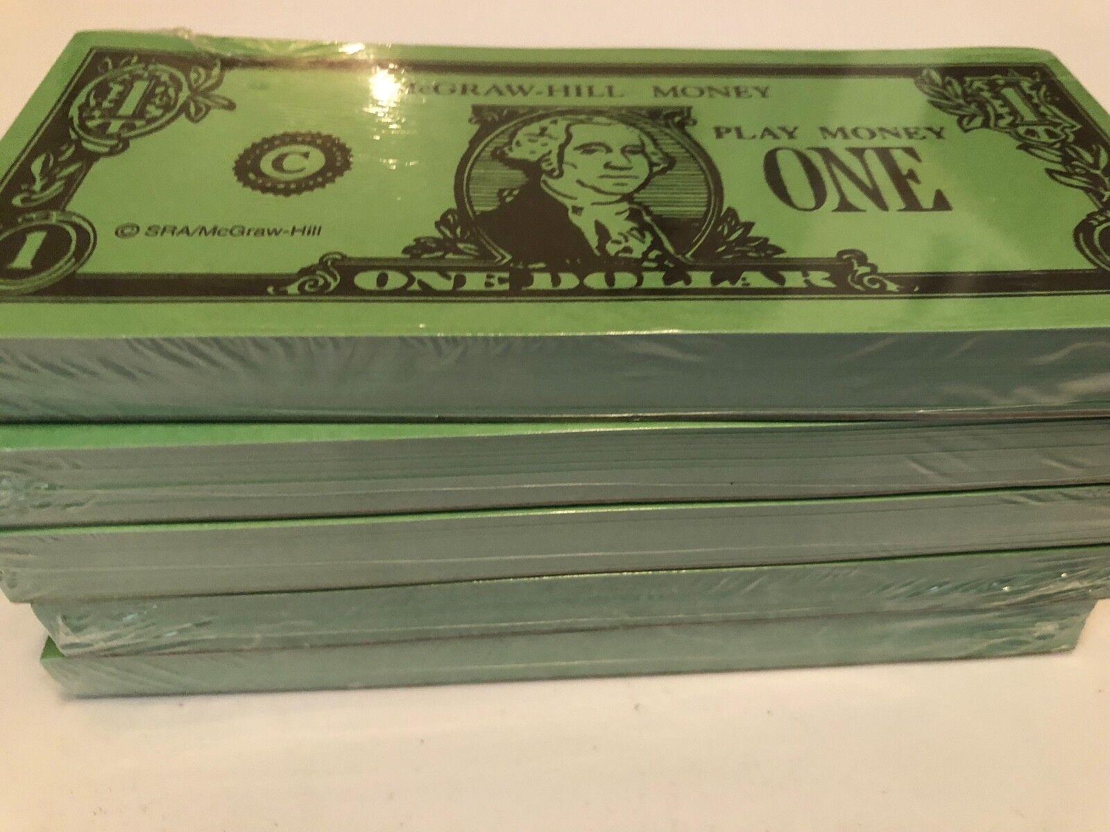 Lot of 5 Everyday Mathematics Mcgraw-Hill PLAY MONEY Homeschool Set of 100 bills