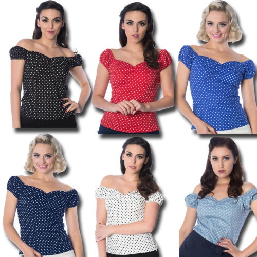 Dancing Days By Banned Rockabilly Retro Bardot Vintage Polka Dot Sweetheart Top