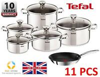 Tefal Duetto Stainless Steel Cookware Set 11 Pcs Lid Pots 24 Cm Pan Kitchen