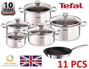 Neuf-tefal-duetto-en-acier-inoxydable-cookware-set-11-pcs-couvercle-pots-28-cm-pan-cuisine