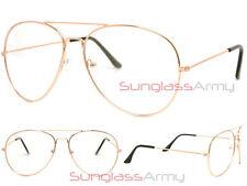 GOLD/CLEAR LENS Designer Frame mens womens classy retro eye glasses 3025 rb