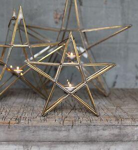 Antique-Brass-amp-Glass-Standing-Star-Tea-Light-Holder-Lantern-Small-Sanwi-Nkuku