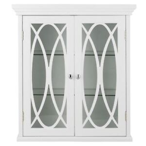 Details About Florence Wall Cabinet With 2 Gl Doors In White For Bathroom Storage