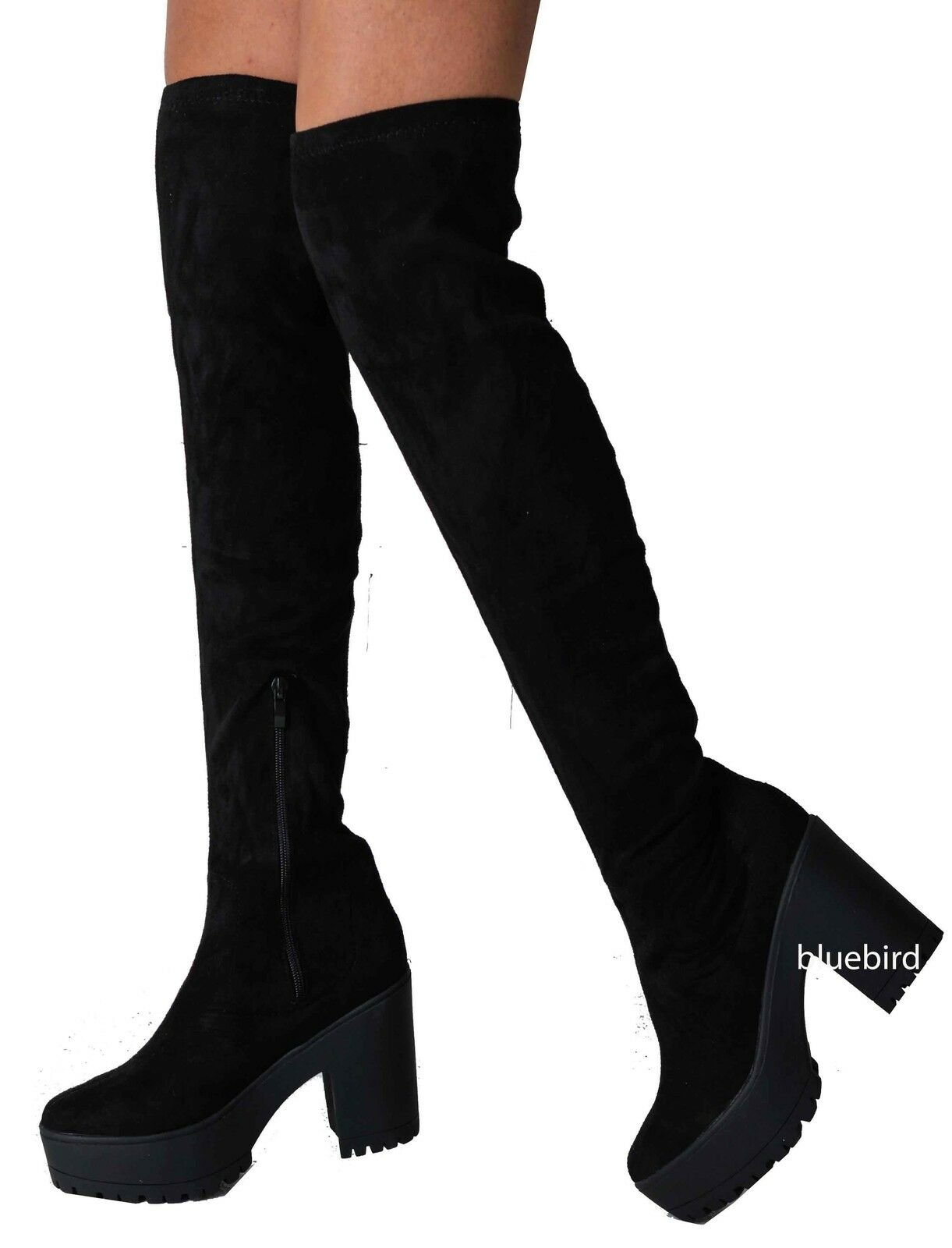 Womens Faux Suede Over The Knee Thigh High Cleated Platform Boots Black 3-8 Long