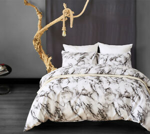 Marble Print Duvet Cover Set Bedding Pillowcase Twin Queen King Soft