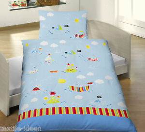 baby bettw sche 100x135 cm papier schiffe wasser wolken sonne biber b ware ebay. Black Bedroom Furniture Sets. Home Design Ideas