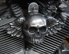 Wing Skull Horn Cover. Aged aluminum.  Harely Davidson. SKU-WA-1