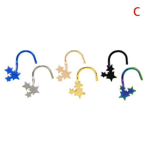 6X Colorful Surgical Steel Nose Studs Screw Ring Bone Bar Pin Piercing JewelrBCD