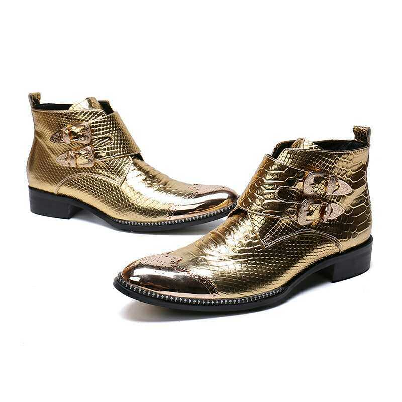 Mens gold Snakeskin Leather Oxford shoes Casual Party Bar Ankle Boots Buckles