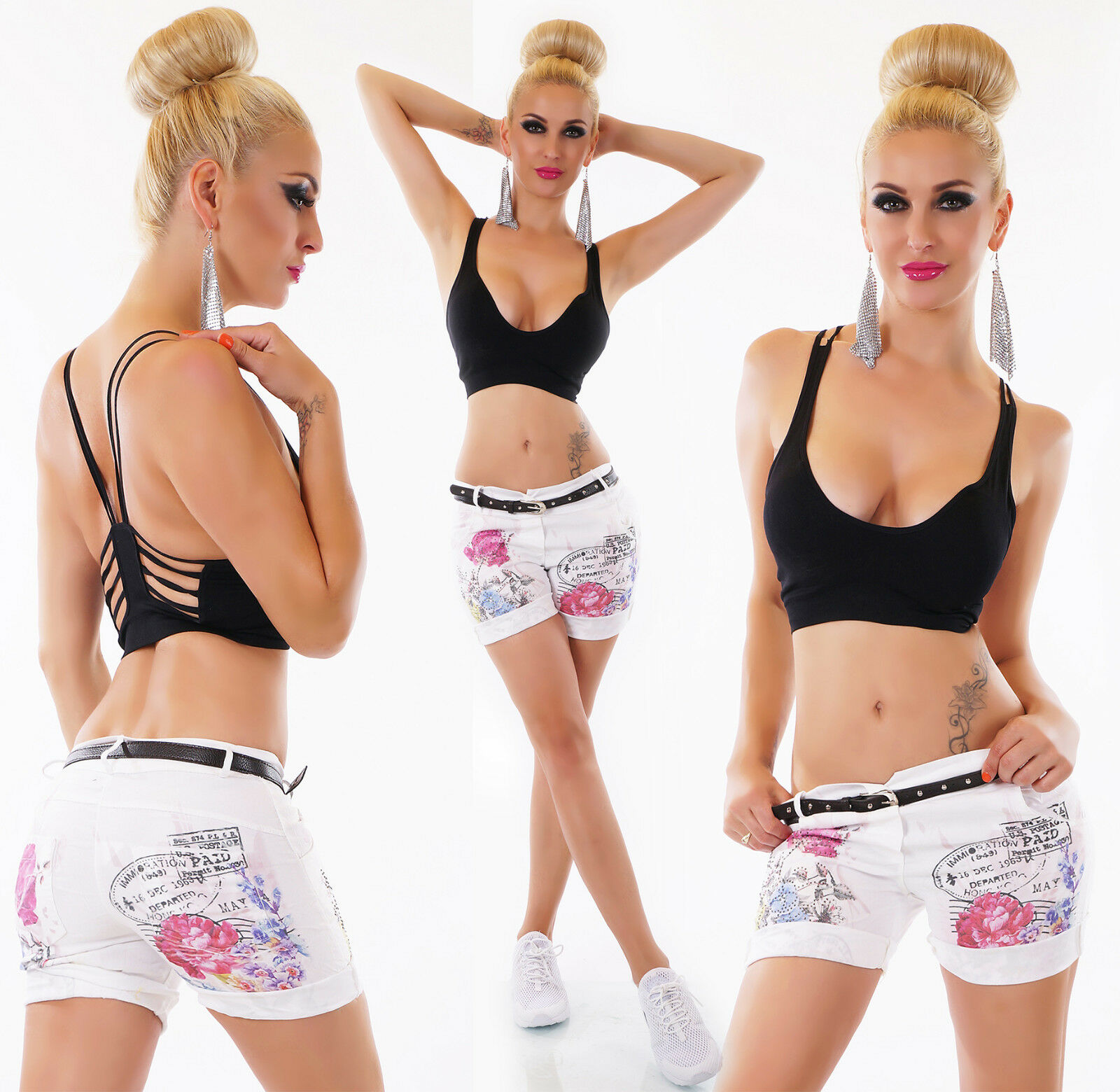 SEXY HOT PANTS BERMUDA shorts shorts woman strass white with strap