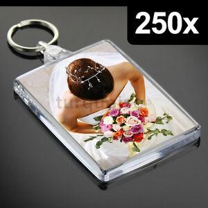 250x Premium Quality Clear Acrylic Blank Keyrings Key Fobs ...