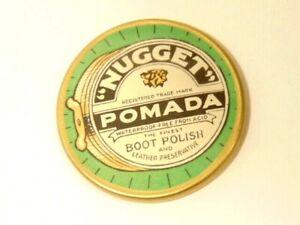 MINT NOS Antique Advertising Celluloid Pocket Mirror NUGGET POMADA BOOT POLISH
