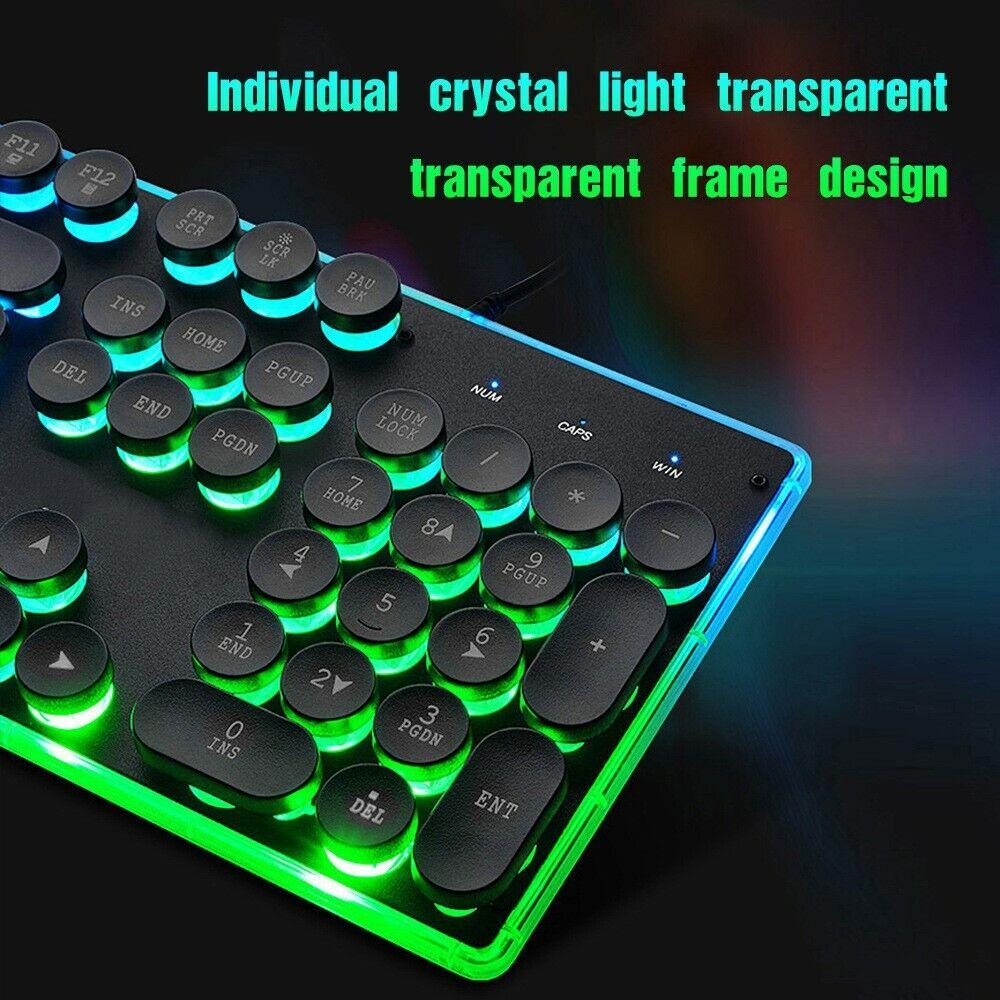 Video Gaming Computer PC Keyboard Keypad LED 7 Colors DPI Mouse Set מקלדת גיימר