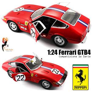 SCALA-1-24-Rosso-Ferrari-Daytona-365-GTB4-COMPETIZIONE-BBURAGO-Die-cast-model-car