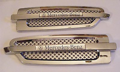 MERCEDES-BENZ AIR VENT, AIR FLOW, CHROME SIDE WING TRIM FENDER ABS Weatherproof