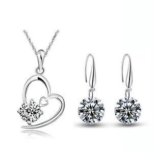 Silver-and-White-Zircon-Jewellery-Set-Drop-Earrings-Heart-Pendant-Necklace-S655