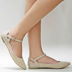 New Womens CCs Beige Ankle Strap Mary Jane Pointed Toe Ballet Flats ...