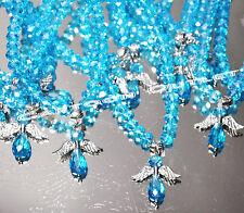 12 BRACELETS BAUTIZO RECUERDOS QUINCEANERA CRYSTAL BLUE ANGEL rosary FAVORS BAPT