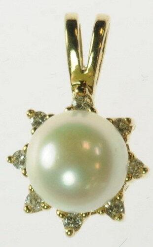 Ladies 10K Yellow gold 7mm Pearl 1 5CT Diamond Gemstone Estate Pendant J196081