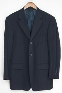 Brooks-Brothers-Herren-Anzug-41R-35x28-Marineblau-Nadelstreifen-Wolle-3-Knopf
