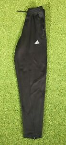 Adidas-Climalite-Black-Tapered-Leg-Tracksuit-Bottoms-With-Zip-Pockets-Size-30