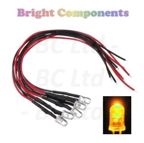 5x Intermitente LED Amarillo pre-cableado 5mm Ultra Brillante 1st Class Post 9V ~ 12V